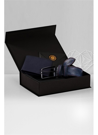 Deri Company Sevgiliye Premium Hediye Set 119507 Lacivert